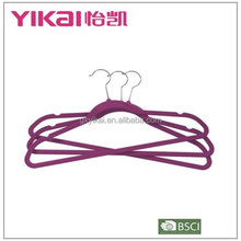 Well-known flocking plastic clothes hanger with notches and bar in dark purple