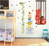 DIY kindergarten Animal height chart eco-friendly removable and reusable Wall Sticker DIY Kids Bedroo & Baby Nursery Vinyl Decal
