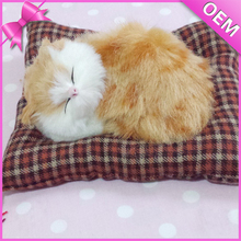 Hot Sales Plush Cat Toy Likelife Lovely Sleeping Plush Toy Cat With Mat