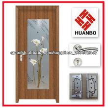 Diseño popular pvc interior puerta de madera con vidrio