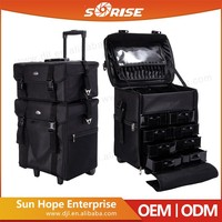 Sunrise Wholesale Black Nylon Selling Rolling Makeup Case