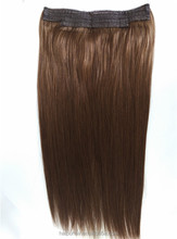 Cheap price peruvian remy hair halo hair extensions 8-28inch straight fish line human flip in halo hair extensions