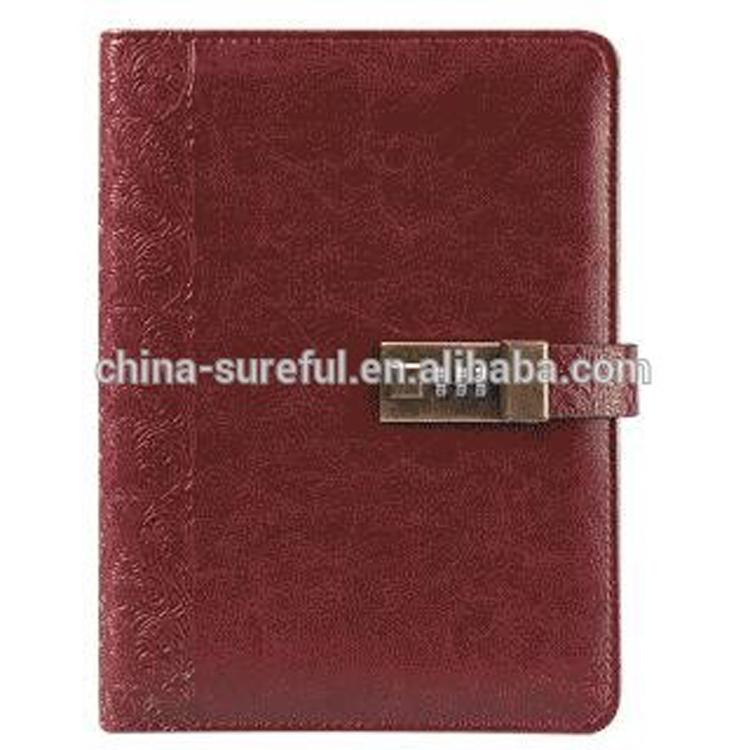 Nuevo diseño gran stock de material de la PU de tapa dura personalizado notebook