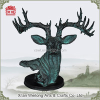 Deer Head Animal Bronze Sculpture for decoration HQ717