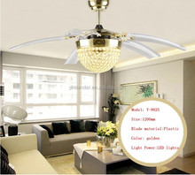 1200mm Chrome Color Crystal Material five transparent blades ceiling fans with LED Lights