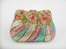 8210 Crystal Rose flower floral blossom metal Lady fashion Bridal Party hard clutch bag Evening purse handbag case box