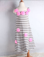 High quality 100% cotton girls long maxi dress newest design wholesale stripe maxi cheap flower dress China factory supplier