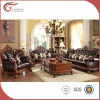 2015 Hot sale luxury wood frame antique living room home sofa furniture