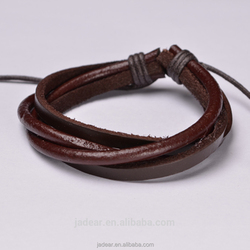 Men's Stainless Steel Link and Woven Black Leather Bracelet