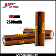 Fresh stock!! Most popular Aosibo imr 18650 60A 2600mah 3.7V, Aosibo 18650 2600mAh 3.7v