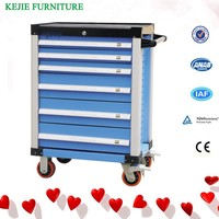 Luoyang Factory Popular Sale Steel Tool Box/Chest Cabinet Metal Garage Service Tool Cabinet with Drawers and Wheels