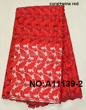 Charming red french lace/african lace fabrics