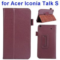 Factory style Litchi Texture Stand Leather case for acer lconia talk s with holder