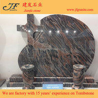 Chinese Aurora Red Granite Headstone Simple Design Cemetery Decoration