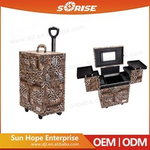 Wholesale Custom Foldable Aluminum Hairdressing Leopard Makeup Suitcase With Multilayer Drawers/Mirror