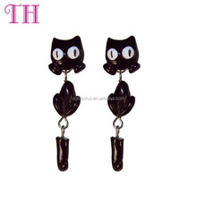 eco-friendly indian resin black cat fashion earring designs new model earrings for girl