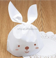 Cookie packaging white Lovely rabbit plastic bags for biscuits snack baking package