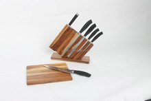 Quality Stainless Steel kitchen knife with Acacia wooden holder and cutting board set