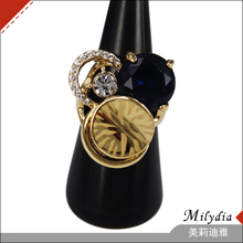 2014 latest design gold ring with blue diamonds and gems