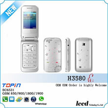 Alibaba express best quality 2014 H3580 quad band GSM 850/900/1800/1900 bluetooth FM radio mobile phone flip phone