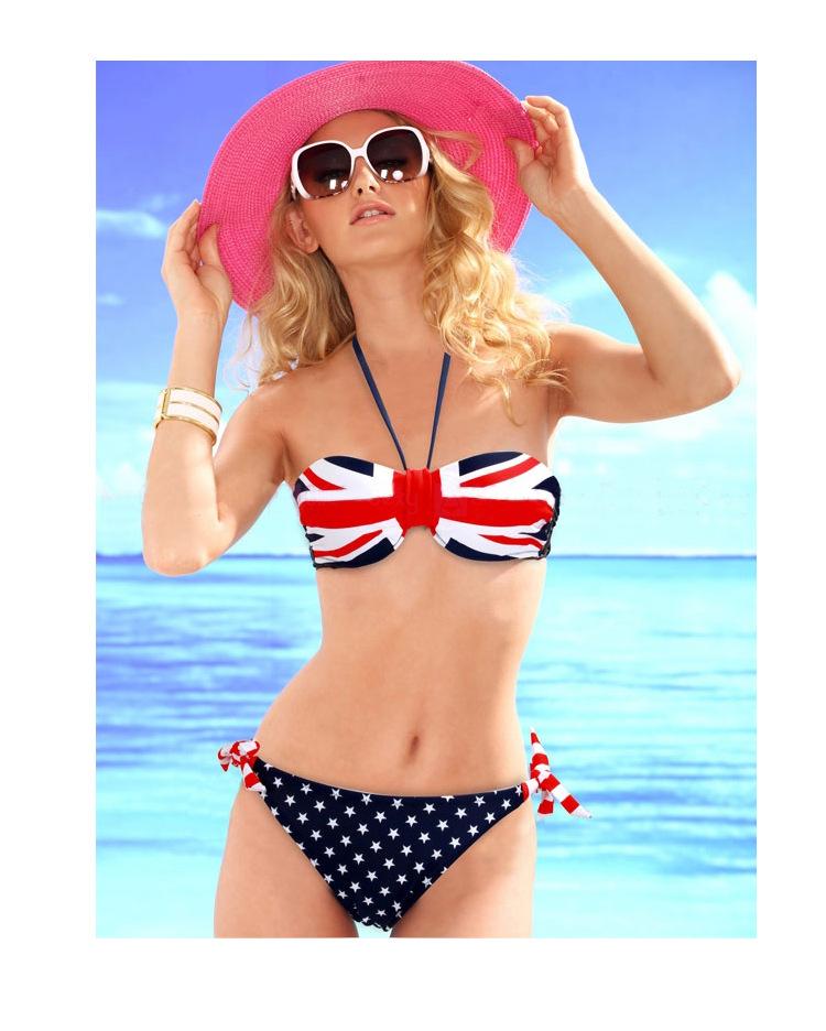 2014 Chicas sexy bikinis con la bandera de la decoración y la empuja hacia arriba