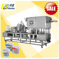 hot sale automatic plastic soymilk cup filling and sealing machine for liquid or semi-liquid