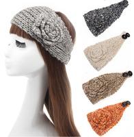 Knitted Headband Crochet Flower Winter Ear Warmer Women Hairband Headwrap