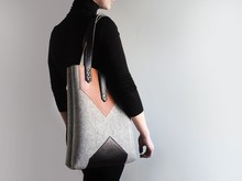 Women/Lady Fashion Felt Tote Bag With Adjustable and Detachable Straps