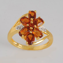 Madeira citrine, white topaz natural gemstone & yellow gold plated 925 sterling silver ring jewelry