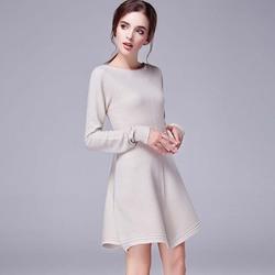 WAT1113 long loose sweater dress striped knit shirt dresses women's online shopping