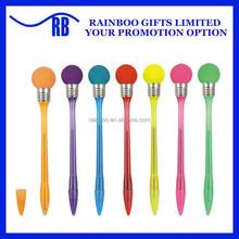 Hot selling novelty plastic knock bulb ball flash light up pen for christmas promotion