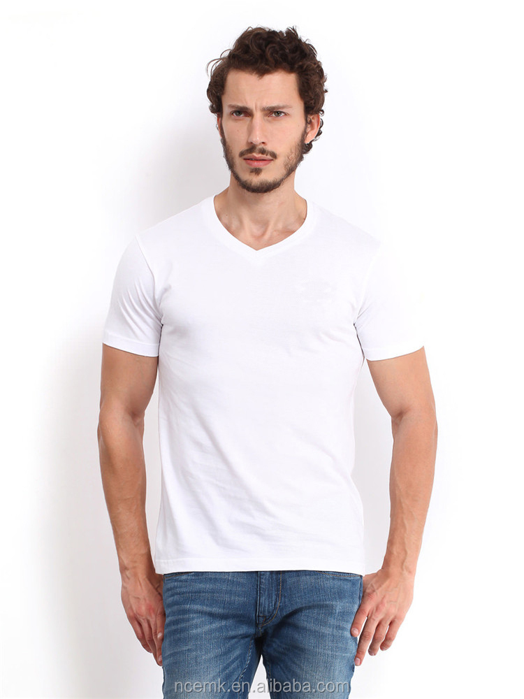 V neck plain white cotton t shirts cheap china bulk Cheap plain white shirts