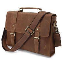 Vintage Leather Business Bags For Men JMD Brand Briefcase 6076B