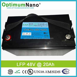 high quality lifepo4 battery 48v 20ah for electric bike e-scooter e-car battery
