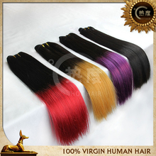 human hair 2tone Ombre hair extensions red/purple/yellow mixed length brazilian ombre virgin hair