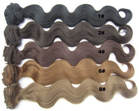 Wavy PCS Clip in Remy Human Hair Extensions 100g