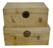 Chinese antique leather storage trunk