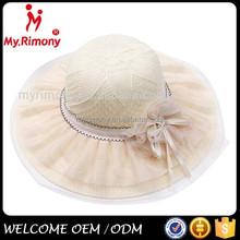 straw with lace sun hat,lady hat,summer hat