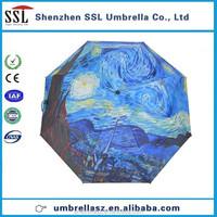Chian factory Van Gogh canvas umbrella, heat transfer printing umbrella, UV umbrella