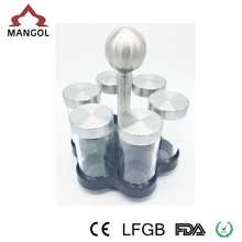 glass spice jar with spoon,kitchen rack