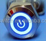 waterproof pushbutton switch with RING LED AND POWER SYMBOL LED