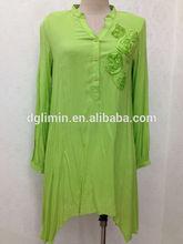 lado longo curto médio bainha e carcela frente algodão verde longa blusa com flores feitas à mão