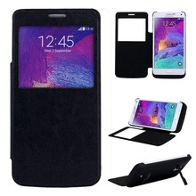 New designer Leather Smart View Flip Window Case Battery cover for samsung note 4 with Sleep & Wake Up Function