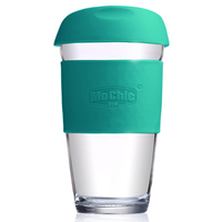 450 ML Borosilicate Glass Water Cup, Glazing Coffee Mug with Silicone Lid, Insulated Glass Tea Tumbler