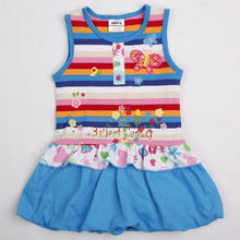 (H4050) RBW 2-6Y Wholesale clothes butterfly girls striped frock latest dress designs for kids