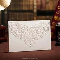 2014 New Fancy Laser Cut Wedding Invitation Card with bead CW3129