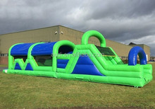 hot!!! wholesale inflatable Green and Blue Obstacle Course
