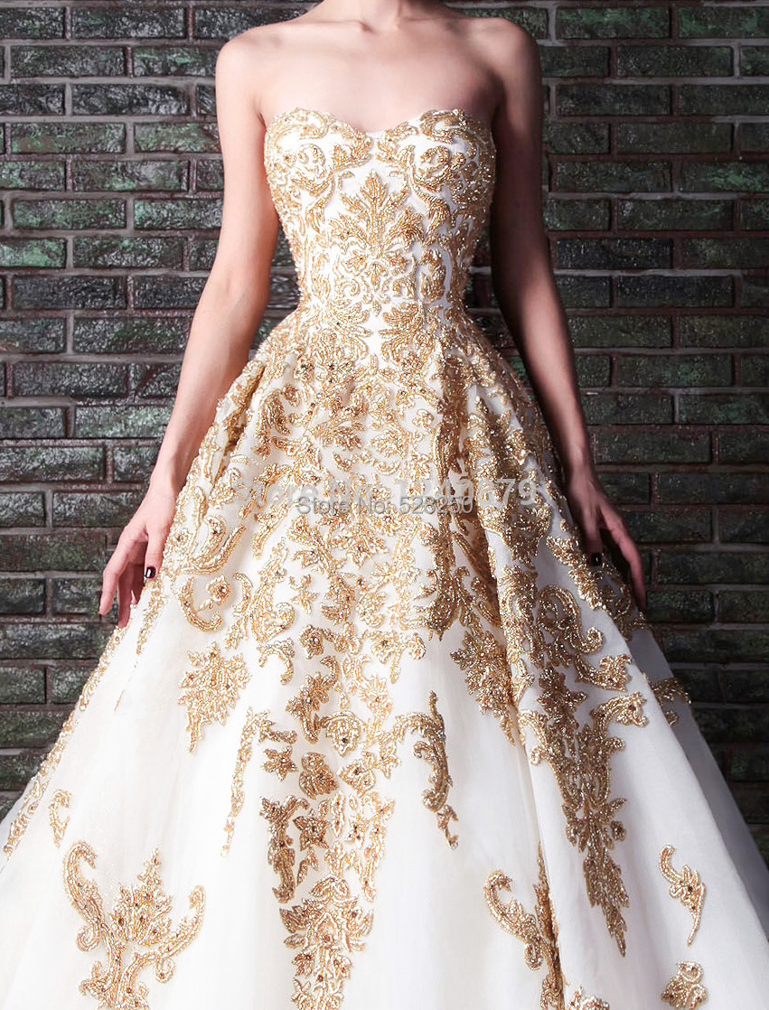 Gold Embroidery Wedding Dress Gold Embroidery Wedding