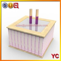 Wood makeup lipstick holder with lighted mirror