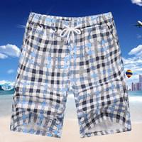 Summer Men Classic Plaid Shorts, Cotton Shorts, Casual Surf Beach Short